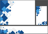 Set of Blue Geometric Backgrounds with Squares
