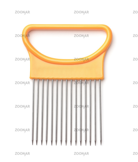 Onion and vegetable cutting fork holder