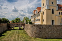 Delitzsch, Germany - June 19, 2019 - Wall ring at the castle