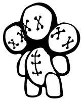 Voodoo Doll Three Head Stencil