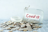 Money jar with covid19 label