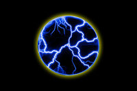 Blue glowing lightning in a circle. Light effect from an electric impulse. Electric discharges on a black background.