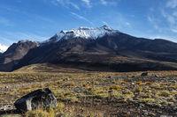 Volcanic landscape of Kamchatka on background of blue sky