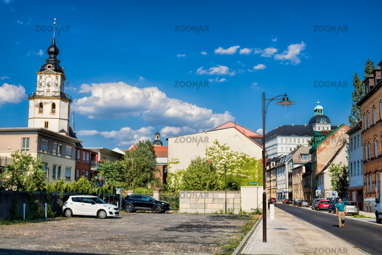 Weissenfels, Germany - 06/18/2019 - panorama with castle and marien church