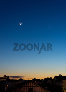 The Moon, Jupiter and Saturn conjunction