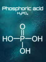 Chemical formula of Phosphoric acid on a futuristic background