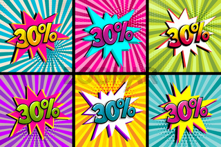 Comic text 30 percent sale set discount.