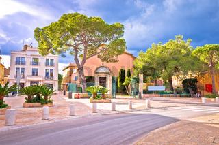 Saint Tropez village colorful street view, famous tourist destination on Cote d Azur