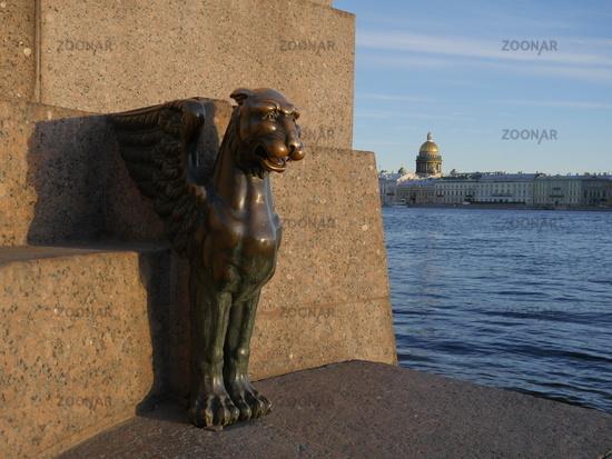 Winged lion bronze sculpture