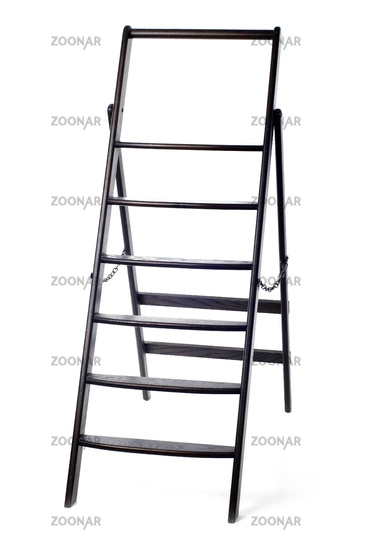 An image of wooden ladder on white background