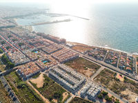 Aerial photo of Torrevieja cityscape during sunrise. Costa Blanca, Spain