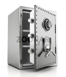 Open steel safe isolated on white background. 3D illustration