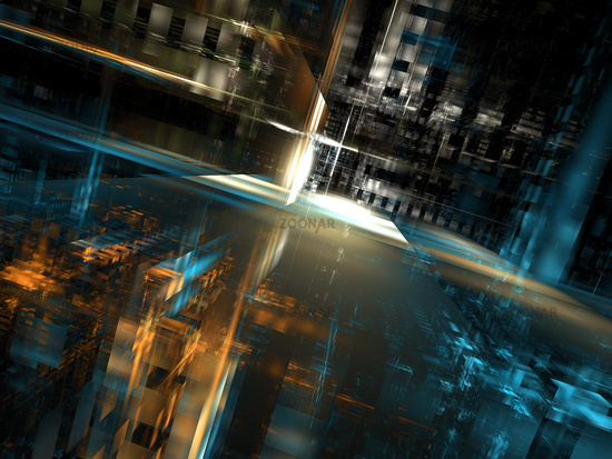 Abstract futuristic street - digitally generated 3d illustration