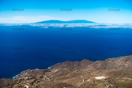 View from La Gomera over to the island La Palma, Canary Islands