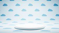 Empty White Platform on Cloud Shape Pattern Studio Background