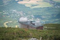 View of the observatory on Skalnate Pleso lake in late summer, High Tatras, Slovakia