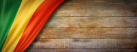 Mali flag on vintage wood wall banner