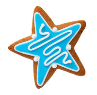 Gingerbread In Shape Of Star Isolated
