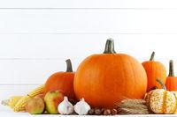 Autumn harvest on white