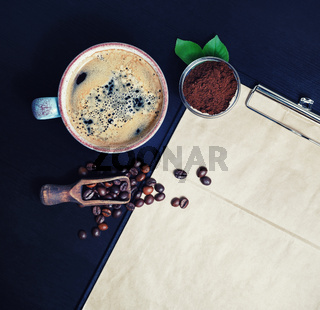 Coffee cup, beans, coffee ground