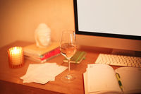 Wine on table in home office
