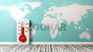Thermometer on Wooden Floor Against Blue Wall with World Map 3D Illustration