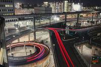 Lighttrails through the Dusseldorf Airport