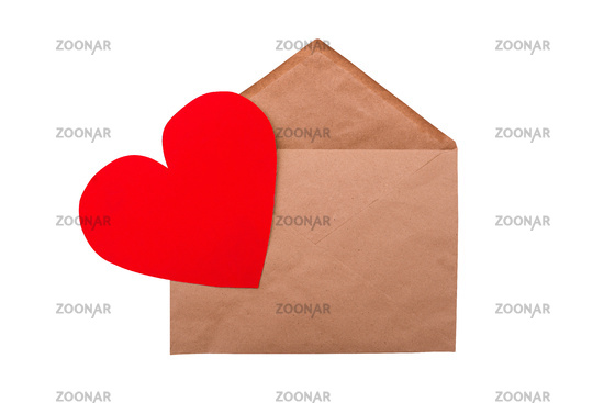 Craft Envelope with Red Heart Isolated on a White Background. Valentine's day concept. Romantic holiday card
