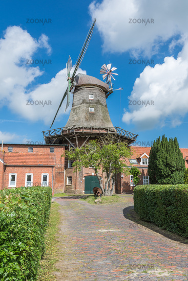 Pewsum Smock Mill with Mill Museum, Lower Saxon Mill Road, Eastern Frisia, Germany