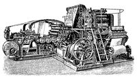 Newspaper rotation machine by Koenig  Bauer. Illustration of the 19th century. White background.