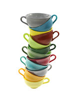 Stack of colorful coffee cups on white background