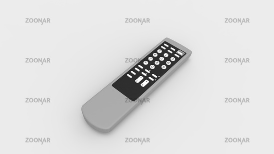 3D rendering of a remote control device tv television control isolated