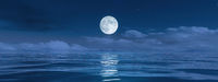 pale moon over the ocean banner background