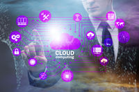 Cloud computing concept with woman pressing buttons