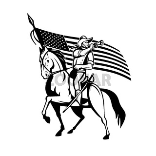 United States Cavalry on Horse Blowing Bugle With USA Flag Retro Black and White