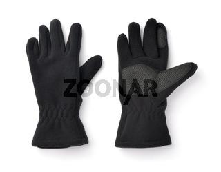Pair of black fleece gloves