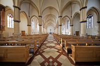 Interior view of the catholic parish church Sankt Petrus, Waltrop, Ruhr area, Germany, Europe