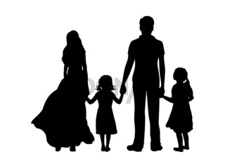 Silhouettes father mother and two daughters from back hold hands