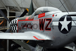 Close-up of wing guns of american P-51 Mustang, fighter of the second world war. London, UK