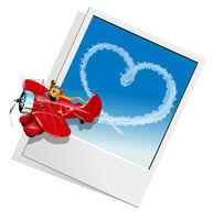 Valentines Card with Cartoon airplane