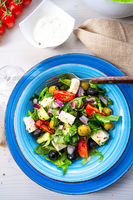 Rustic Greek salad with sheep's cheese
