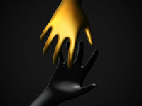 Two 3D human hands taking each other on black background.