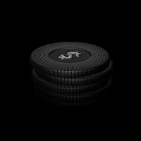 Digital 3D poker chips stack on gray background.