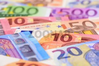 Haufen Banknoten von Euro Währung