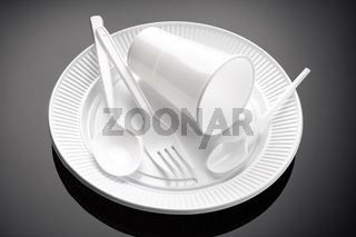 Plastic White cup, plate, fork and spoon Disposable plastic waste