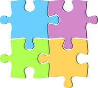 set of four jigsaw puzzle pieces