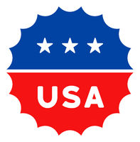 Flat Raster USA Medallion Logo Icon in American Democratic Colors with Stars
