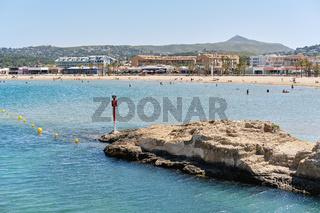 Waterside view to the sandy beach of Javea. Spain