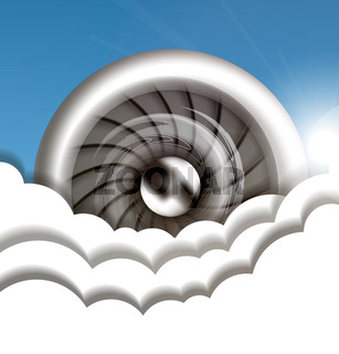 Jet engine in the sky