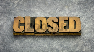 closed word abstract in wood type